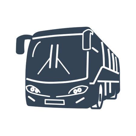 Vector black icon passenger road land transport, bus