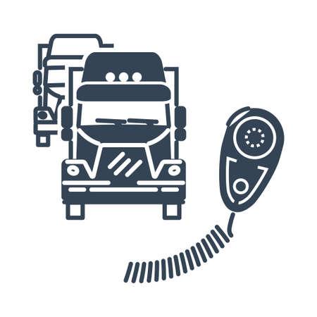 Vector black icon freight road land transport, truck radio Vecteurs
