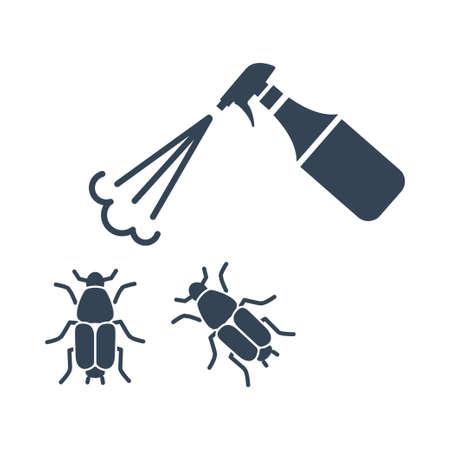 Vector black icon agriculture, spraying pesticide, insecticide, bug Ilustração