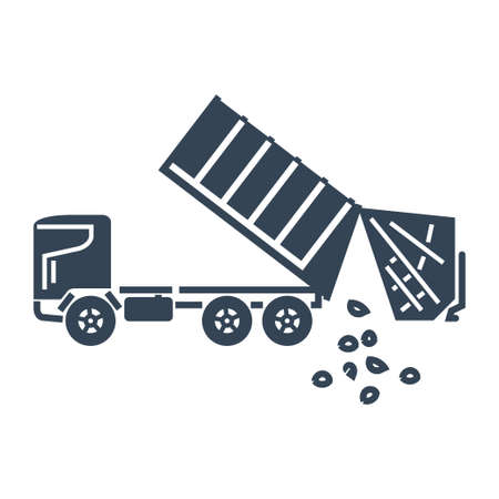 Vector black icon garbage truck, dump Ilustração