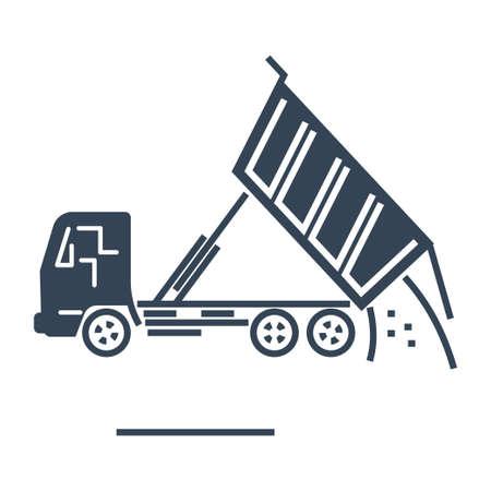 Vector black icon freight road land transport, tipper dump truck Ilustração