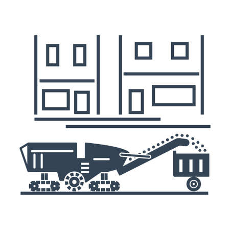 Vector black icon pavement milling machine, asphalt cold planer