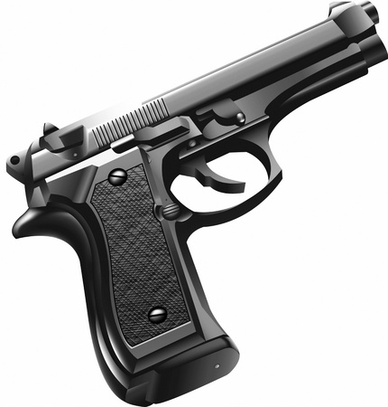 gat: Handgun graphic, Black and White Graphic by Sgt. Jason Luber