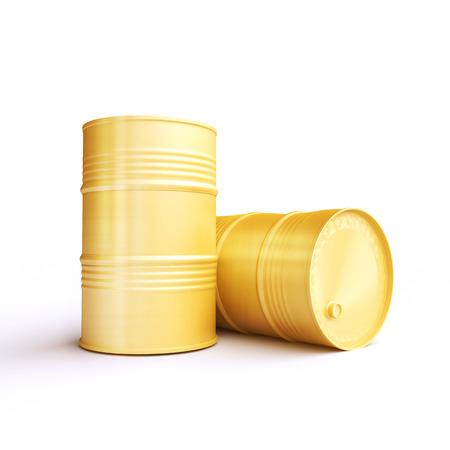 chemical material: Two yellow metal barrels Stock Photo