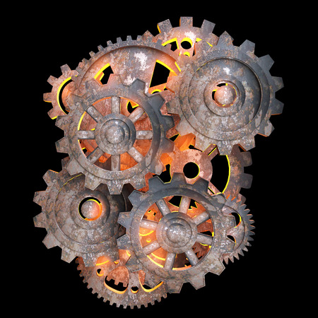 Mechanical gears of rusty metal with a red light back