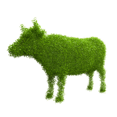 Animal silhouette of green leaves  Cow  photo