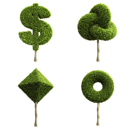 set of money: Green decorative shrubs or trees of different shapes isolated on a white background