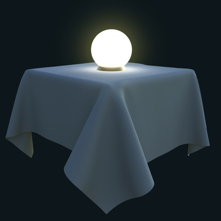 Glowing magic ball on a square table. 3d illustration isolated on black background. illustration