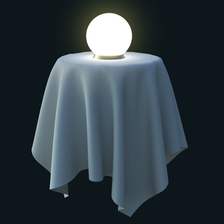 palmistry: Glowing crystal ball on a round table. 3d illustration isolated on black background.