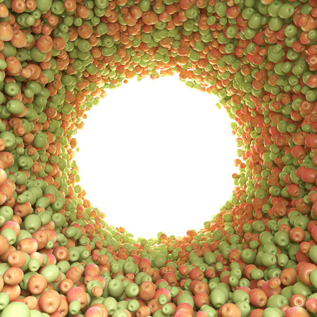 Circular tunnel of green and red apples photo