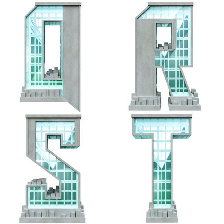 Alphabet in the form of urban buildings. Letter q, r, s, t.