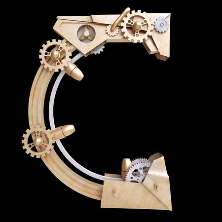 Mechanical alphabet made from iron. Letter c. photo