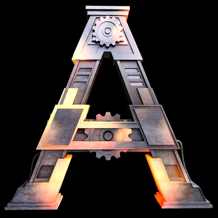 Mechanical alphabet made from iron, Letter A