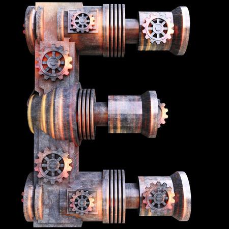 hierro: Alfabeto mecánica hecha de hierro, Letra E Foto de archivo
