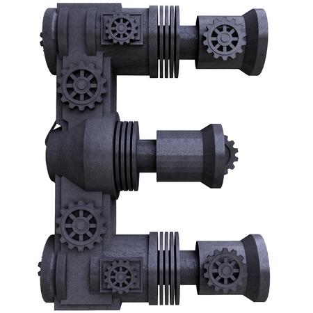 tipos de letras: Iron letras negras mec�nicos rayados metal sobre un fondo blanco. Letra e Foto de archivo