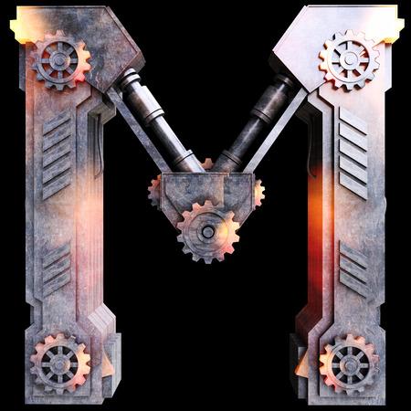 鉄、文字 M から作られた機械のアルファベット 写真素材