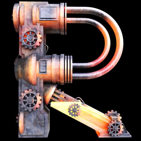 鉄、R の文字から作られた機械のアルファベット
