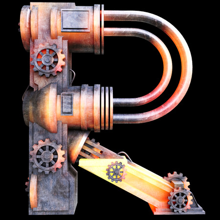 old letter: Mechanical alphabet made from iron, Letter R Stock Photo