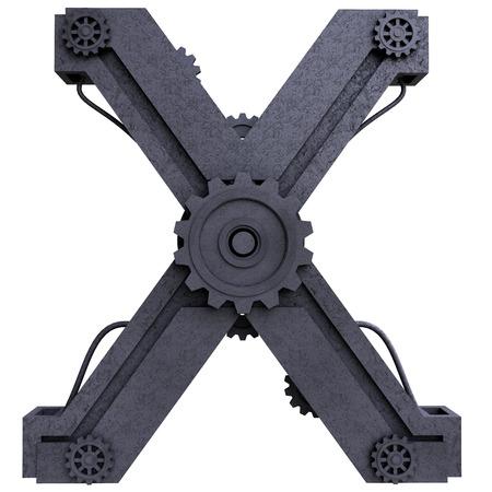 鉄機械の黒い文字は白地に金属を傷しました。手紙 x 写真素材