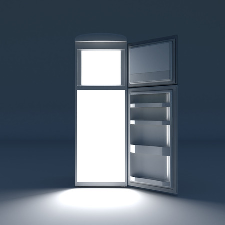 Open refrigerator with lights inside. photo