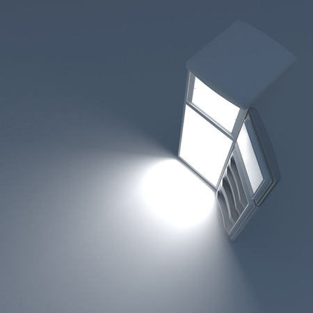 Open refrigerator with lights inside. Top view. photo