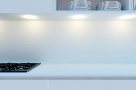 Element of the working area of modern kitchen with white worktop, stove hanging cupboards and shelves. 3d illustration.