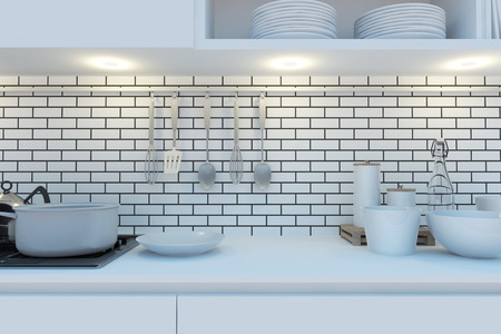 Element of the working area of modern kitchen with white worktop, stove hanging cupboards and shelves. 3d illustration. illustration