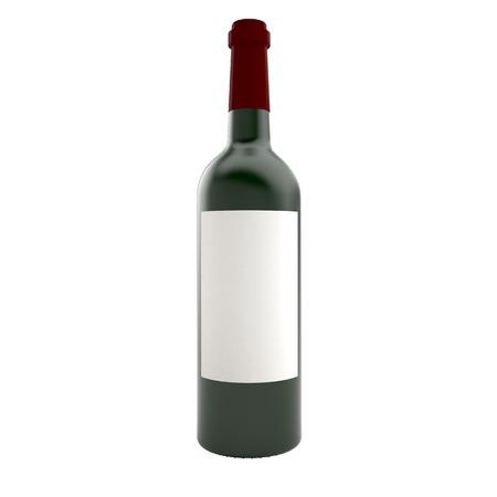 unlabeled: Bottle of wine isolate on white background