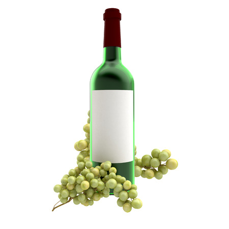 Bottle of wine and grapes on white background photo