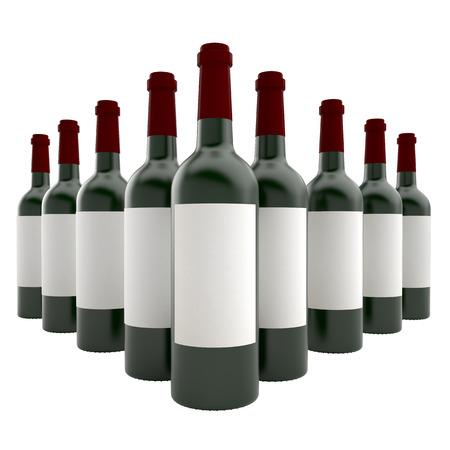 Bottles of wine isolate on white background photo