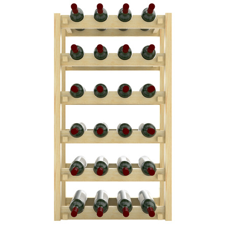 unlabeled: Wooden shelves with bottles of wine