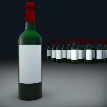 Bottles of wine isolate on black background photo