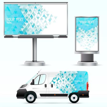Vorlage der Außenwerbung oder Corporate Identity auf dem Auto, Billboard und Citylight. Für Geschäftsreisende, Branding und Werbung.