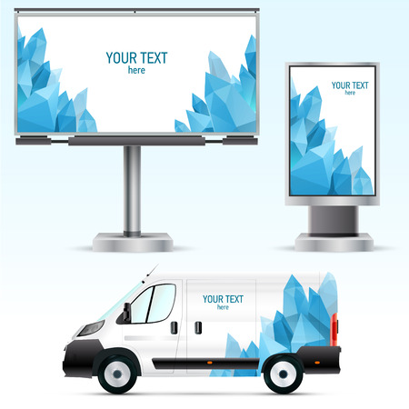 Template outdoor advertising or corporate identity on the car, billboard and citylight. For business, branding and advertising companies.
