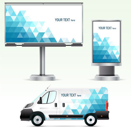 billboard: Template outdoor advertising or corporate identity on the car, billboard and citylight. For business, branding and advertising companies.