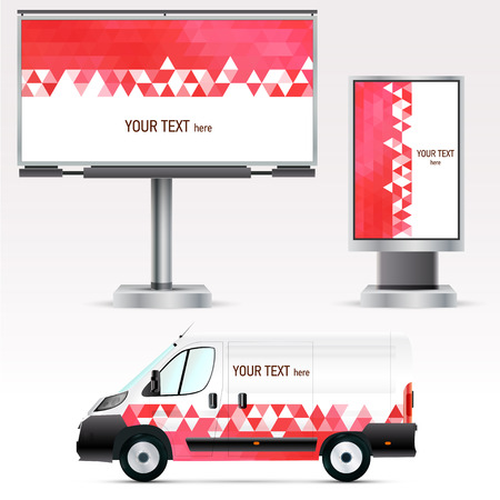 outdoor blank billboard: Template outdoor advertising or corporate identity on the car, billboard and citylight. For business, branding and advertising companies.