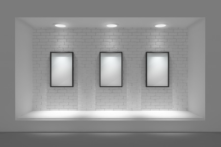 vitrine: Empty storefront or podium with lighting and a big window Stock Photo