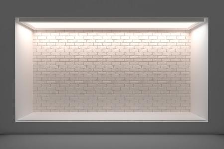 空き店舗や照明と大きな窓と表彰台