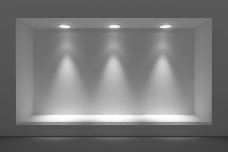 shop window: Empty storefront or podium with lighting and a big window Stock Photo
