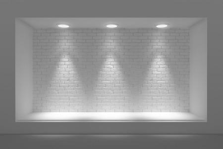 Lege storefront of podium met verlichting en een groot raam Stockfoto