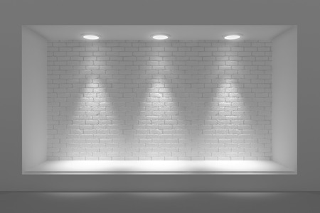 Empty storefront or podium with lighting and a big window Archivio Fotografico