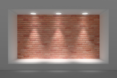 hollow walls: Empty storefront or podium with lighting and a big window Stock Photo