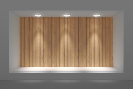 Empty storefront or podium with lighting and a big window Stok Fotoğraf