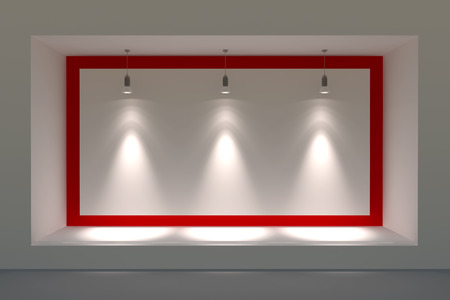 Empty storefront or podium with lighting and a big window Stock Photo