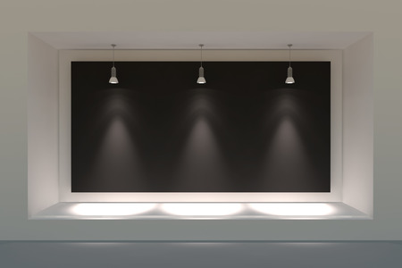 big window: Empty storefront or podium with lighting and a big window Stock Photo