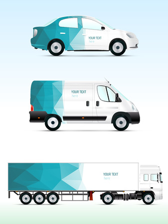 outdoor advertising: Template vehicle for advertising, branding or corporate identity. Passenger car, truck, bus.