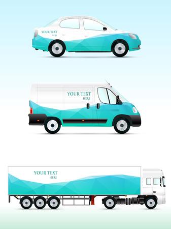 広告、ブランドや企業の id テンプレート車両。乗用車、トラック、バス。