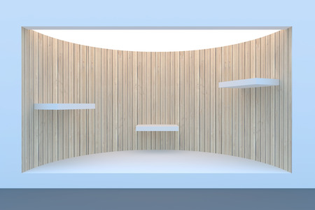 boutique display: Empty circle storefront or podium with lighting and a big window