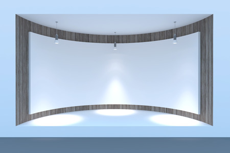 shop show window: Empty circle storefront or podium with lighting and a big window