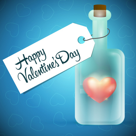 Glass bottle with red heart inside Vector